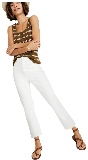 Item - Ivory Light Wash The High-rise Slim Boyjean In Tile White Capri/Cropped Jeans Size 4 (S, 27)