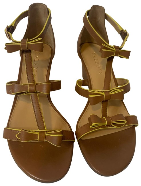 Item - Brown and Lime Strap Sandals Wedges Size US 6 Regular (M, B)
