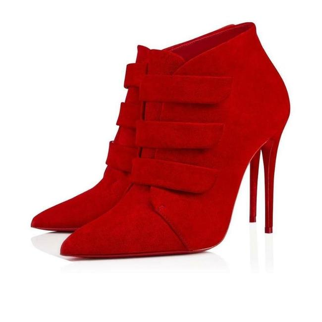 Item - Red Triniboot 100 Loubi Suede Velcro Strap Ankle Stiletto Heel Boots/Booties Size EU 39 (Approx. US 9) Regular (M, B)
