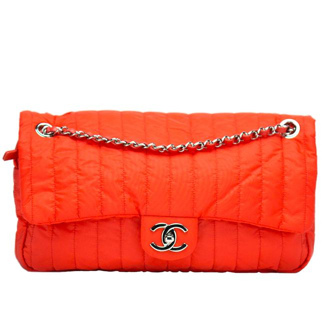 Item - Classic Flap Soft Shell Vertical Quilted Jumbo Orange Nylon Shoulder Bag