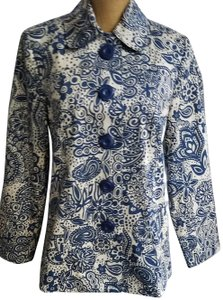 Requirements Buttons Lined Floral Size M Blue/Tan Jacket