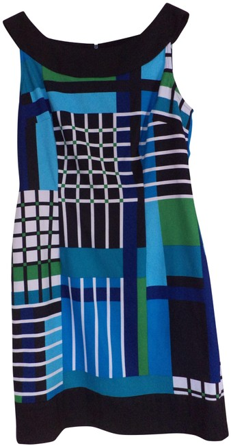 Connected Blue/Black Mid-length Short Casual Dress Size Petite 6 (S) Connected Blue/Black Mid-length Short Casual Dress Size Petite 6 (S) Image 1