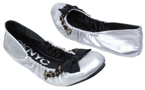 DKNY Larissa Ballet Chain Bow Leather Silver Flats
