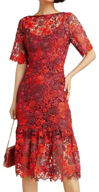 Item - Red Brigitte Embroidered 0 By Eva Franco Mid-length Cocktail Dress Size 0 (XS)