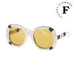 Gucci 0659 Round Bamboo Style Ivory Brown Sunglasses GG0659S Oversized