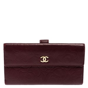 Chanel Chanel Dark Red Camellia Embossed Leather CC Continental Wallet