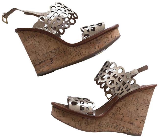 Item - Brown and Metallic Gold/Silver Leather Cork Wedges Size US 7 Regular (M, B)