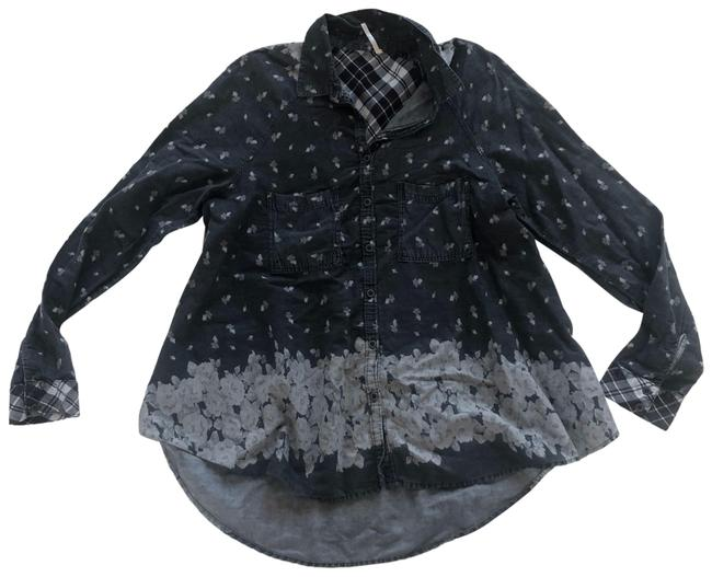 Item - Black Gray White Like New Chambray Plaid Floral Large Button-down Top Size 12 (L)