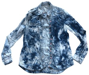 BlankNYC Button Down Shirt Blue and White