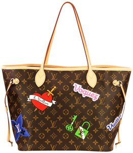 Item - Neverfull Multicolor Patches Mm Brown Monogram Canvas Tote