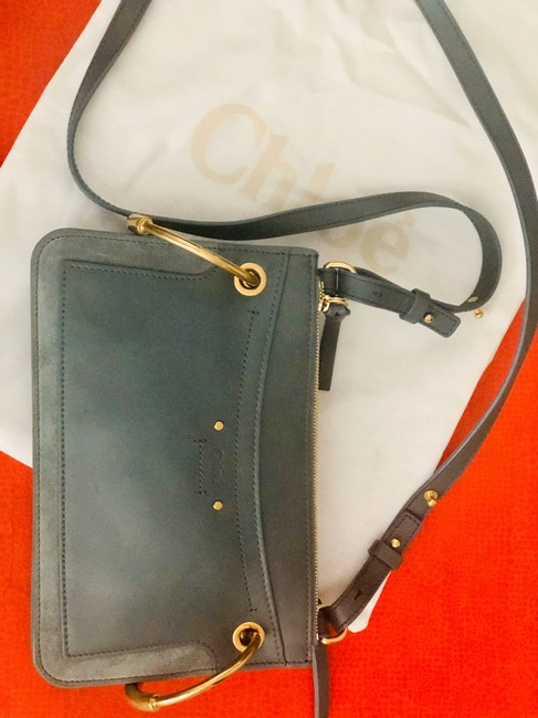 Item - Roy Mini Leather/Suede Double-zip Shoulder Blue Leather Cross Body Bag