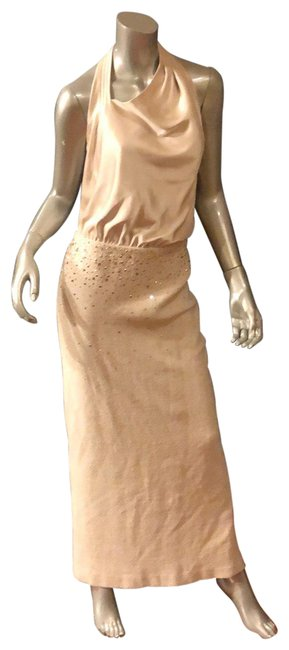 Item - Beige Evening /Night Out/ Cocktail Gown Rhinestones Embellished Long Night Out Dress Size 6 (S)