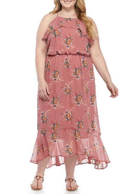 Item - Mauve Ruffle Floral Print Long Casual Maxi Dress Size 26 (Plus 3x)