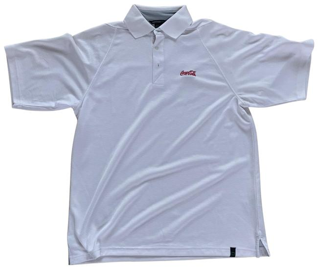 Item - White and Red Men's Polo Shirt Medium Button-down Top Size 8 (M)
