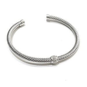 David Yurman BEAUITFUL!! David Yurman Sterling Silver Single Station Classic Cable Cuff Bracelet with Pavé Diamonds