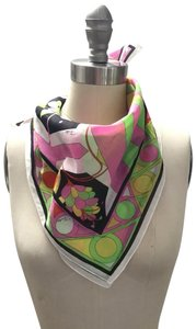 Emilio Pucci Lime/ Yellow/ Pink/ Black/ White Printed Cotton Scarf
