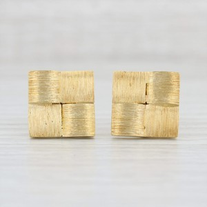 Henry Dunay Designs Yellow Gold Checked 18k Folding Back Men's Accessory Cufflinks/Studs