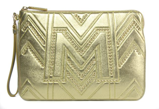 Item - New Studded Pouch Wristlet Gold Leather Clutch