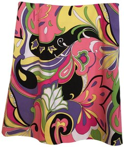 Acorn Paisley Floral Spring Summer Casual Skirt Pink Lavender Yellow