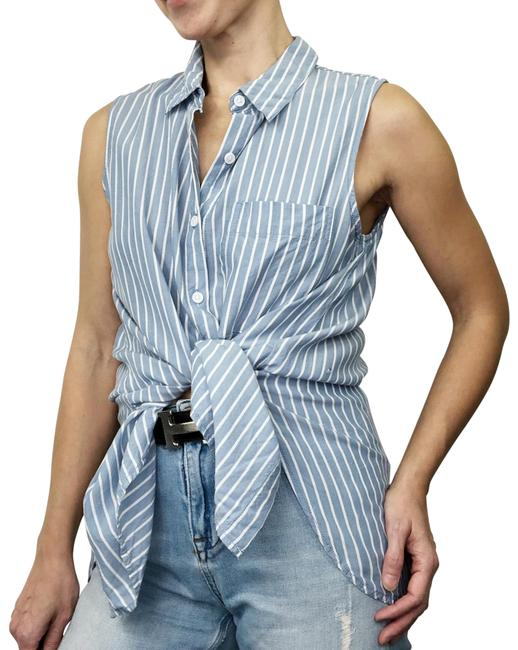 Item - Blue White Striped Sleeveless Flowy Button Up Lyocell Blouse Button-down Top Size 6 (S)