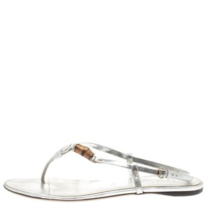 Gucci Leather Flat Silver Sandals