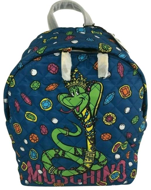 Item - Ss17 Couture Jeremy Scott Snake W/ All Over Gems Blue Quilted Multicolor Multi Backpack