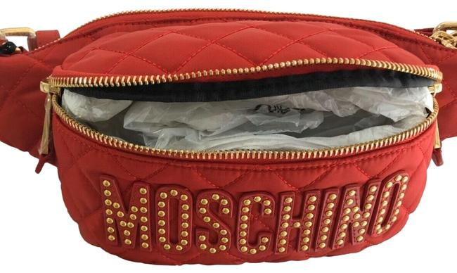 Item - W Couture Jeremy Scott Red Quilted Fanny Pack W/ Gold Studded Logo Messenger Bag