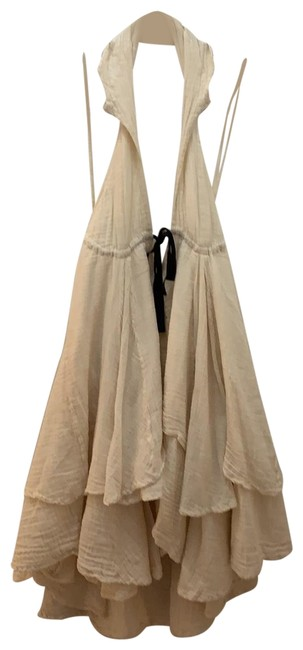 Item - Cream with Black Tie Flowy Ruffle Short Night Out Dress Size 4 (S)