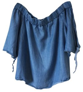 blue rain Jean Off Shoulder Crop Summer Top blue
