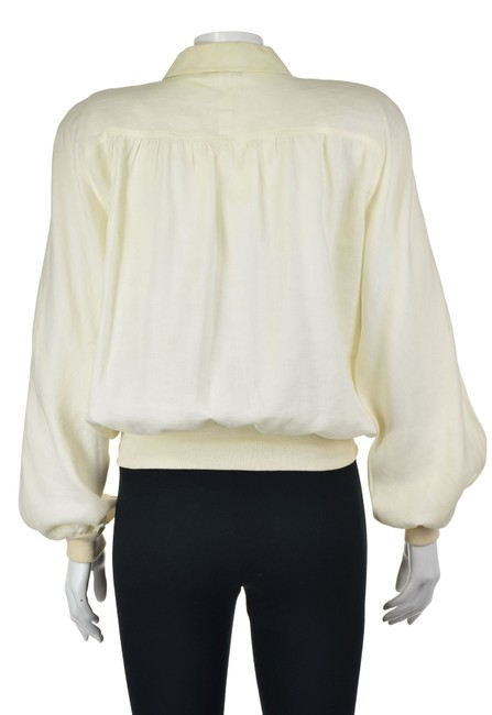 Vintage linen ivory blouse with buttons and sleeve detail