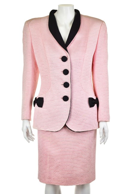 Item - Pink & Black Lillian Fell French Skirt Suit Size 6 (S)