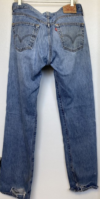 Levi's Denim Distressed 501 Button Fly Straight Boyfriend Cut Jeans Size 34 (12, L) Levi's Denim Distressed 501 Button Fly Straight Boyfriend Cut Jeans Size 34 (12, L) Image 2
