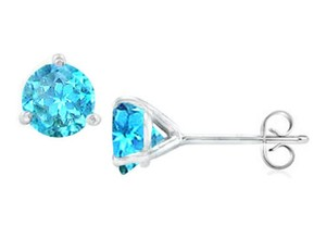 LoveBrightJewelry Sterling Silver Martini Style Blue Topaz Stud Earrings With 2.00 Ct Tgw