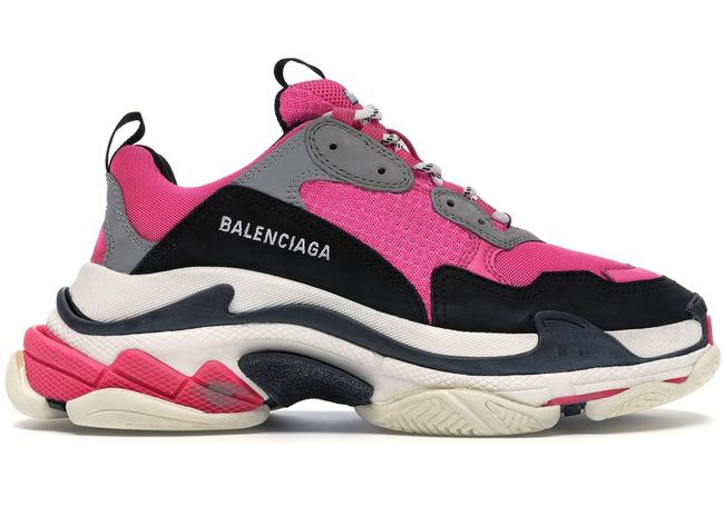 Item - Pink Triple S Neon Fluo White Black Grey Speed Flat Trainers Sneakers Size EU 39 (Approx. US 9) Regular (M, B)