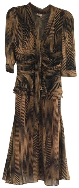 Item - Black / Brown / Tan Tie Up Mid-length Cocktail Dress Size 2 (XS)