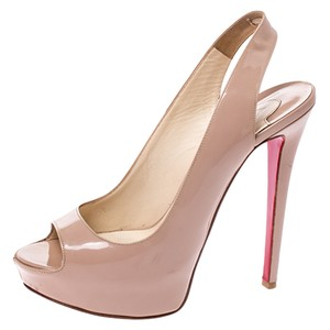 Christian Louboutin Patent Leather Peep Toe Beige Sandals