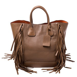 Prada Leather Nylon Tote in Brown