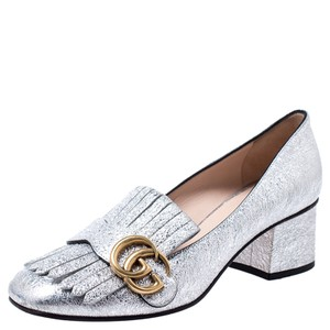 Gucci Metallic Leather Detail Silver Pumps