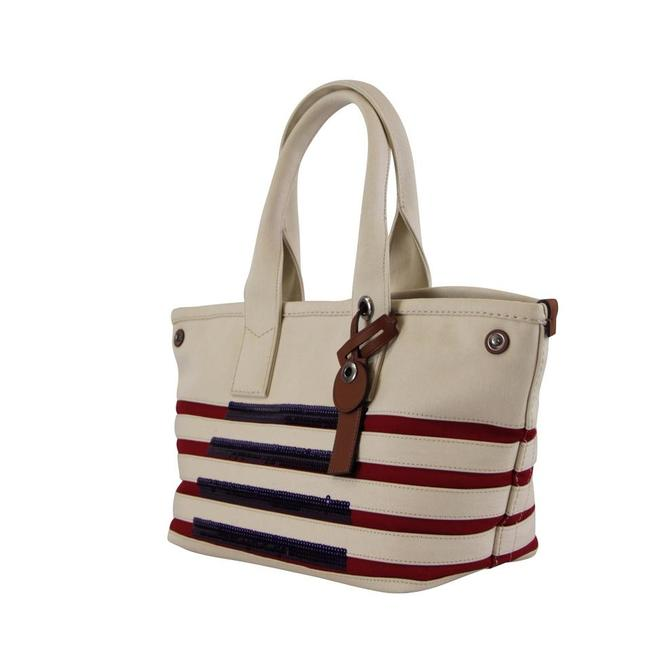 Item - Usa Large Off-white Flag America Canvas Tote