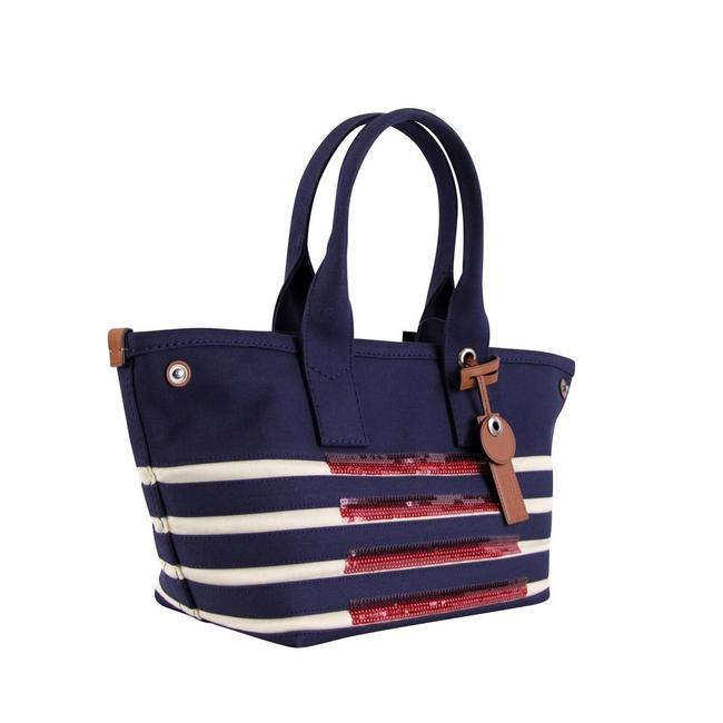 Item - Usa Large America Blue Red Sequin Off-white Flag Canvas Tote