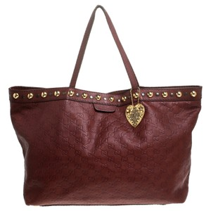 Gucci Leather Tote in Burgundy