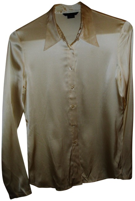 Item - Ivory Satin Silk Classic Collar Button Down Career Blouse Size 4 (S)