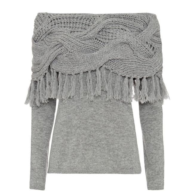 Item - Cashmere Wool Blend Off The Shoulder Mixed Cable Knit Fringe Gray Sweater