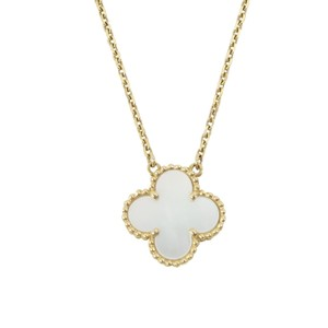 Van Cleef & Arpels Yellow Gold Mother Of Pearl Vintage Alhambra Necklace