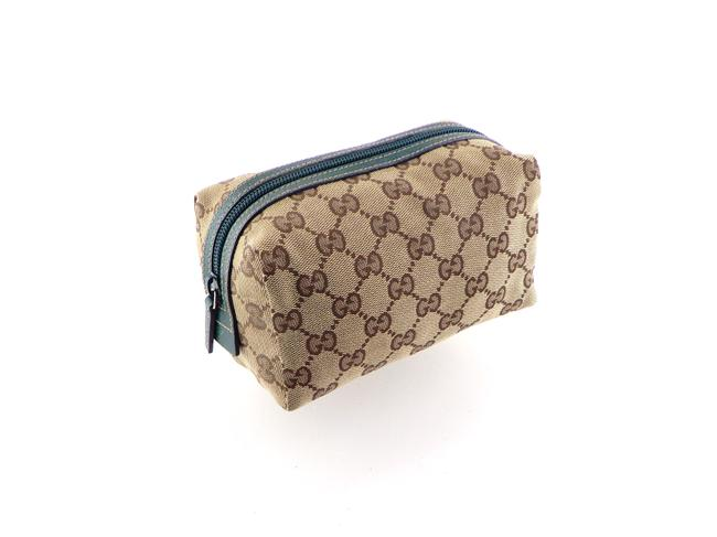 Item - Brown and Green Toiletry Gg Monogram Canvas Leather Travel Cosmetic Bag