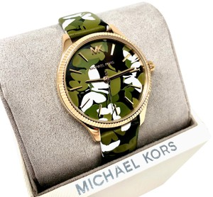 Michael Kors Lexington Gold-Tone and Butterfly Camo Leather Watch MK2811