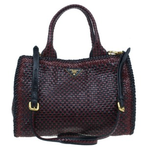 Prada Leather Suede Tote in Red