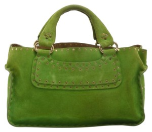 Celine Suede Leather Tote in Green