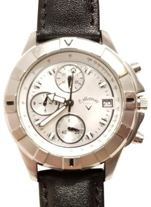 Callaway Callaway Chronograph Watch Mother of Pearl Dial Black Leather Strap