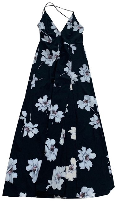 Blue Blush Black and White Floral with Large Front Slit Long Casual Maxi Dress Size 4 (S) Blue Blush Black and White Floral with Large Front Slit Long Casual Maxi Dress Size 4 (S) Image 1